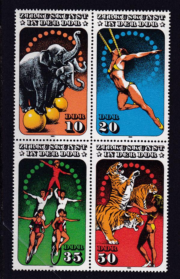 Zirkuskunst in der DDR (II) Viererblock ** 0