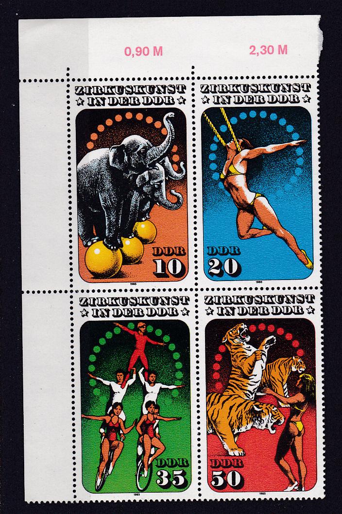 Zirkuskunst in der DDR (II) Eckrand-Viererblock oben links ** 0