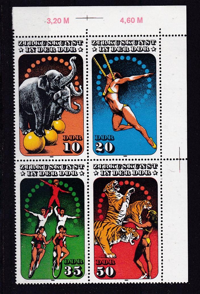 Zirkuskunst in der DDR (II) Eckrand-Viererblock oben rechts ** 0