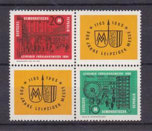 Leipziger Frühjahrsmesse 1964 Viererblock Gummi talkumiert