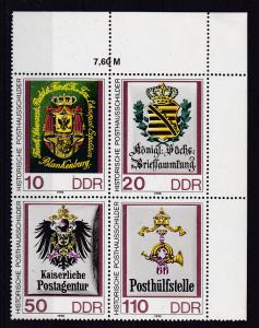 Historische Posthausschilder Eckrand-Viererblock oben rechts **