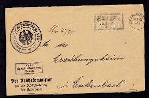 Saarbrücken Maschinenstempel Saarbrücken 27.8.35 Deutsch ist die Saar