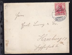 Germania 10 Pfg. auf Brief ab Zwickau (Sachsen) 1.2.09 nach Hamburg