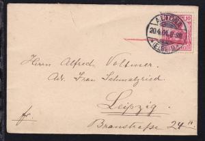 Germania 10 Pfg. auf Brief aus Klein Flottbek nach Leipzig, Brief Einriss