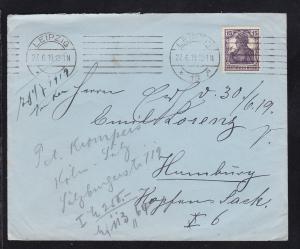 Germania 15 Pfg. auf Brief ab Leipzig 27.6.19 nach hamburg und Nachsendung