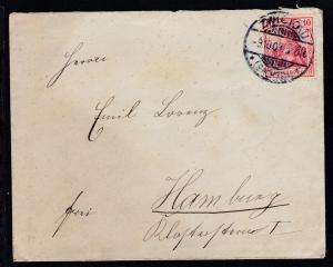 Germania 10 Pfg. auf Brief ab Zwickau (Sachsen) 9.10.07 nach Hamburg