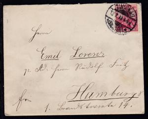 Germania 10 Pfg. auf Brief ab Zwickau (Sachsen) 18.7.00 nach Hamburg