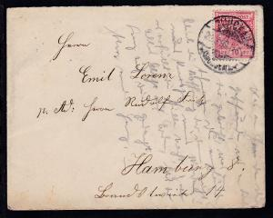Adler 10 Pfg. auf Brief ab Zwickau (Sachsen) 26.3.99 nach Hamburg