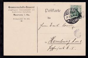 Germania 5 Pfg. auf Firmenpostkarte (Genossenschafts-Brauerei Meerane)