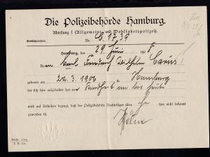 Hamburg 1928 Führungszeugnis der Polizeibehörde Hamburg, gefaltet
