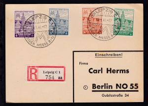 Leipziger Messe 1946 (dabei 163 I) auf R-Postkarte mit Sonderstempel nach Berlin