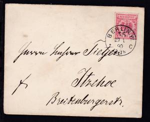 Adler 10 Pfg. auf Brief ab Berlin W 35 29.1.90 nach Itzehoe