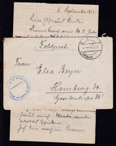 K D Feldpost 6.9.17 + K1 Deutsches Etappen Magazin 15 auf Feldpostbrief
