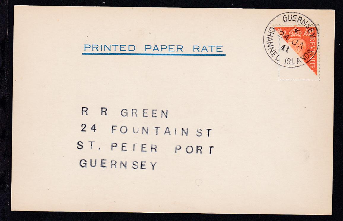 2 P. halbiert auf Postkarte mit K1 GUERNSEY CHANNEL ISLANDS 24 JA 41 0
