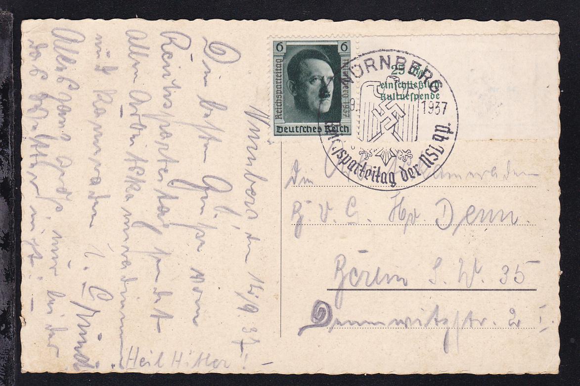 Reichsparteitag Blockmarke auf AK (Nürnberg Burg von der Westseite)  0