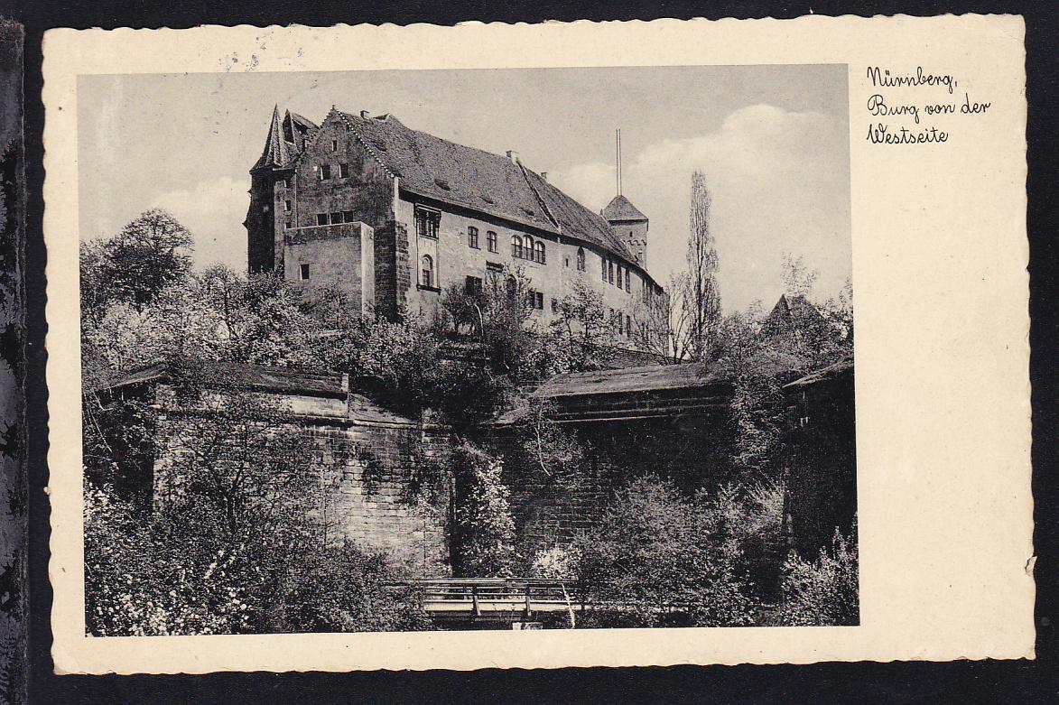 Reichsparteitag Blockmarke auf AK (Nürnberg Burg von der Westseite)  1