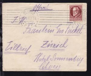 König Ludwig III 50 Pfg. auf Eilbrief ab München 16.1.17 nach Zürich/Schweiz,