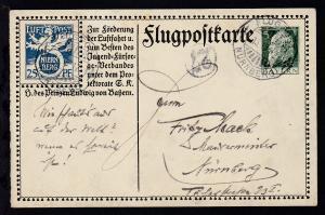 Flugpostkarte Seenlandschaft mit Stpl. FLUGPOST NÜRNBERG 15.10.12