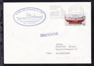 OSt. Lindau 3.8.90 + Cachet Dienstboot Wasserschutzpolizei 30-Hecht- auf Brief