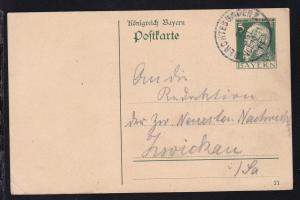 Prinzregent Luitpold 5 Pfg. mit K1 BERCHTESGADEN 2 22 JUL 11 nach Zwickau
