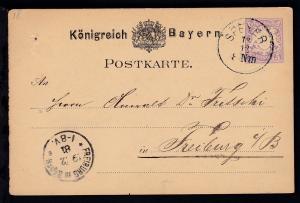 Wappen 5 Pfg. mit K1 SPEYER 18.12. nach Freiburg i. B., Karte 2 Nagellöcher