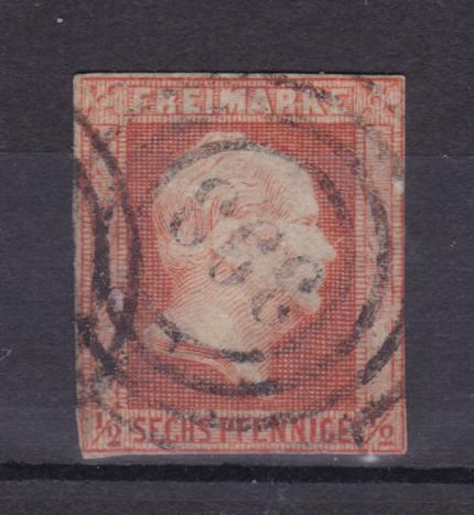 König Friedrich Wilhelm IV. 6 Pfg. mit Nummernstempel 393 (= Erxleben) 0