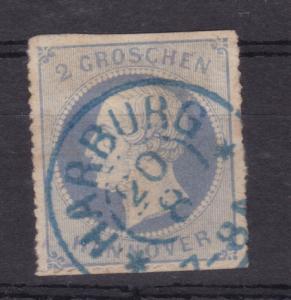 König Georg V. 2 Gr. Mit K2 HARBURG 20.8., Marke oben und unten Scherentrennung