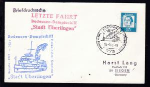 KONSTANZ 1 775 DB Letzte Fahrten DS.ST. Überlingen 15.9.63 + Cachets auf Brief