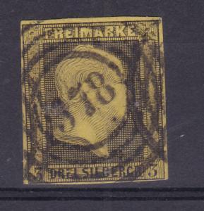 König Friedrich Wilhelm IV 3 Sgr. mit Nummernstempel 578 (= Hamburg)