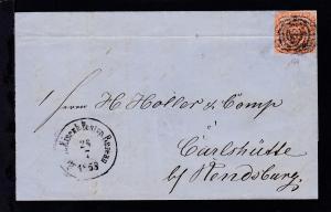 Kroninsignien  4 S. auf Brief mit Dreiringstempel 168 (= Bahnhof Elmshorn) + K1