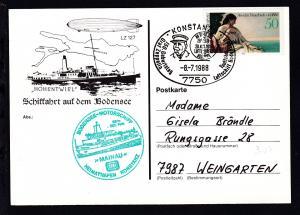 Sonderstempel Konstanz 8.7.1988 + Cachet MS Mainau auf AK (Schiffahrt auf dem