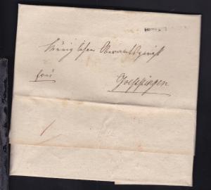 1831/32 L1 LANGENBURG R3 auf Dienstbrief nach Göppingen und gewendet mit