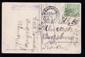 K.B. BAHNPOST LIND. IV AUGB. 10 OCT 11 (= Lindau-Augsburg) als Transitstempel