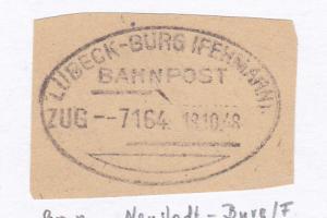 LÜBECK-BURG (FEHMARN) BAHNPOST ZUG 7164 18.10.48 auf Briefstück