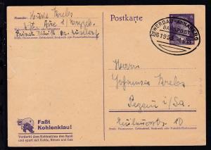 WERDAU-ANNABERG BAHNPOST ZUG 1953 1.6.43 auf Ganzsache, Karte kl. Einriss