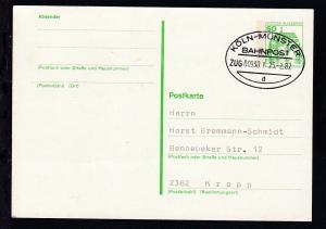 KÖLN-MÜNSTER BAHNPOST d ZUG 00930 I 25.2.82 auf Ganzsache