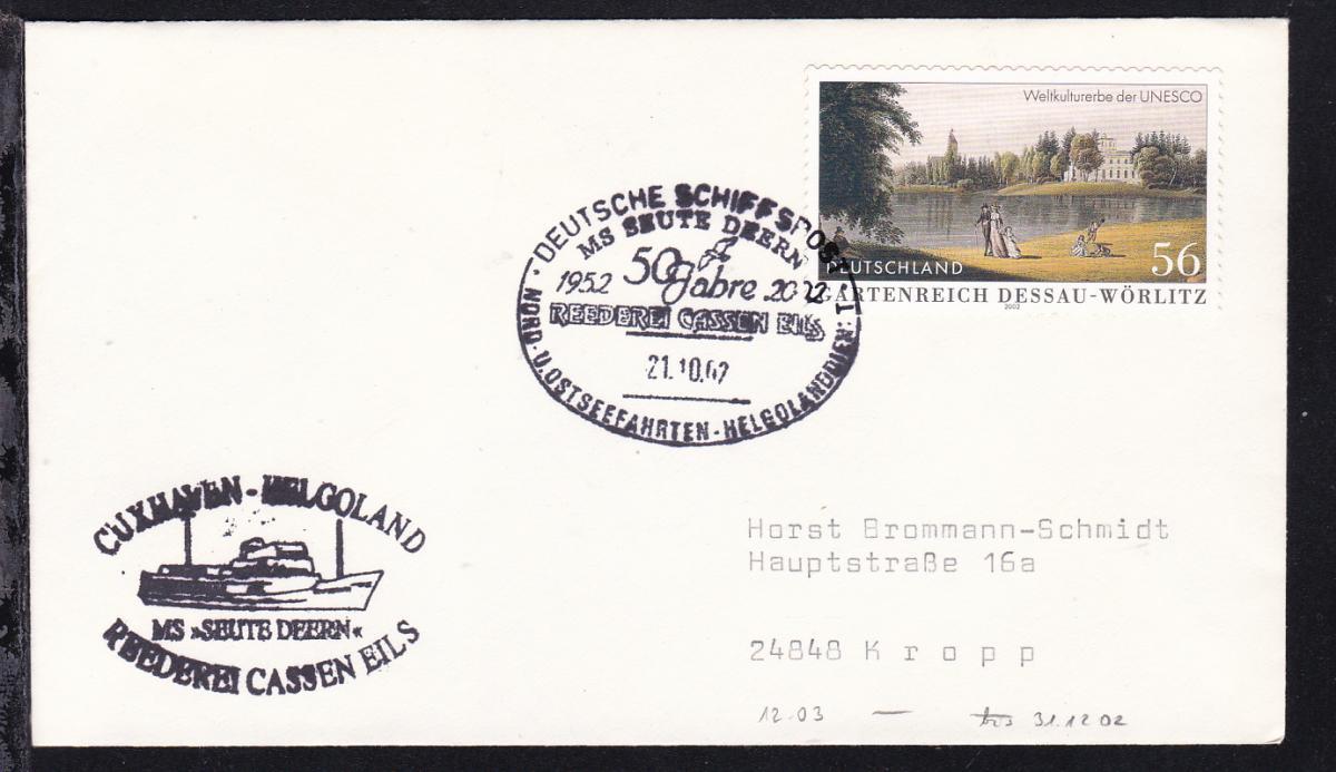 DEUTSCHE SCHIFFSPOST MS SEUTE DEERN 1952 2002 50 Jahre REEDEREI CASSEN EILS  0