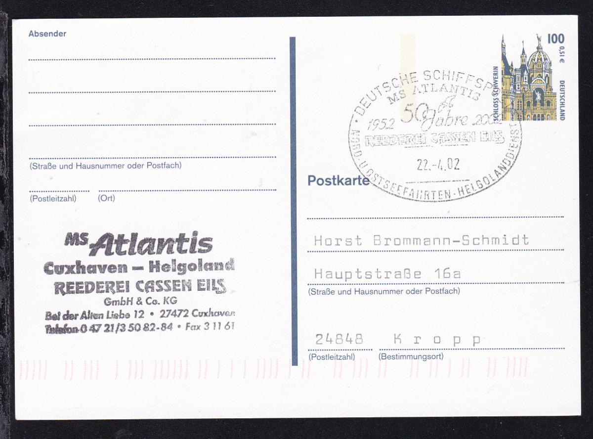 DEUTSCHE SCHIFFSPOST MS ATLANTIS 1952 2002 50 Jahre REEDEREI CASSEN EILS  0