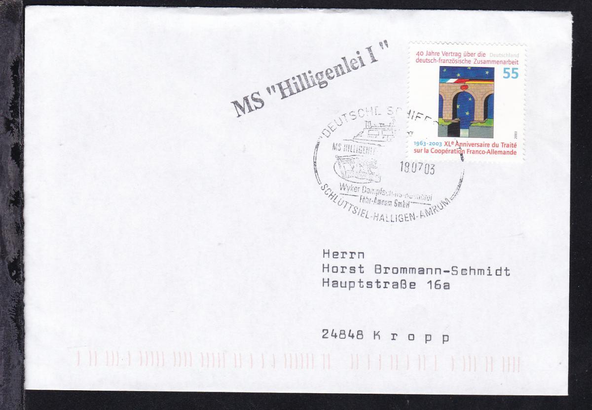 DEUTSCHE SCHIFFSPOST MS HILLIGENLEI Wyker Dampfschiffs-Reederei Föhr-Amrum GmbH 0