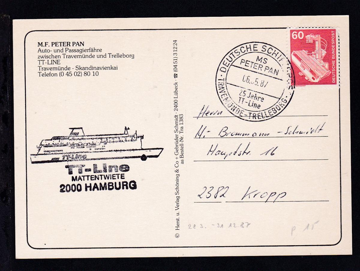 DEUTSCHE SCHIFFSPOST TRAVEMÜNDE-TRELLEBORG MS PETER PAN 25 JAHRE TT-LINE  0
