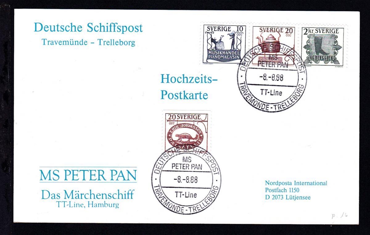 DEUTSCHE SCHIFFSPOST MS PETER PAN TT-LINE TRAVEMÜNDE-TRELLEBORG 8.8.88  0