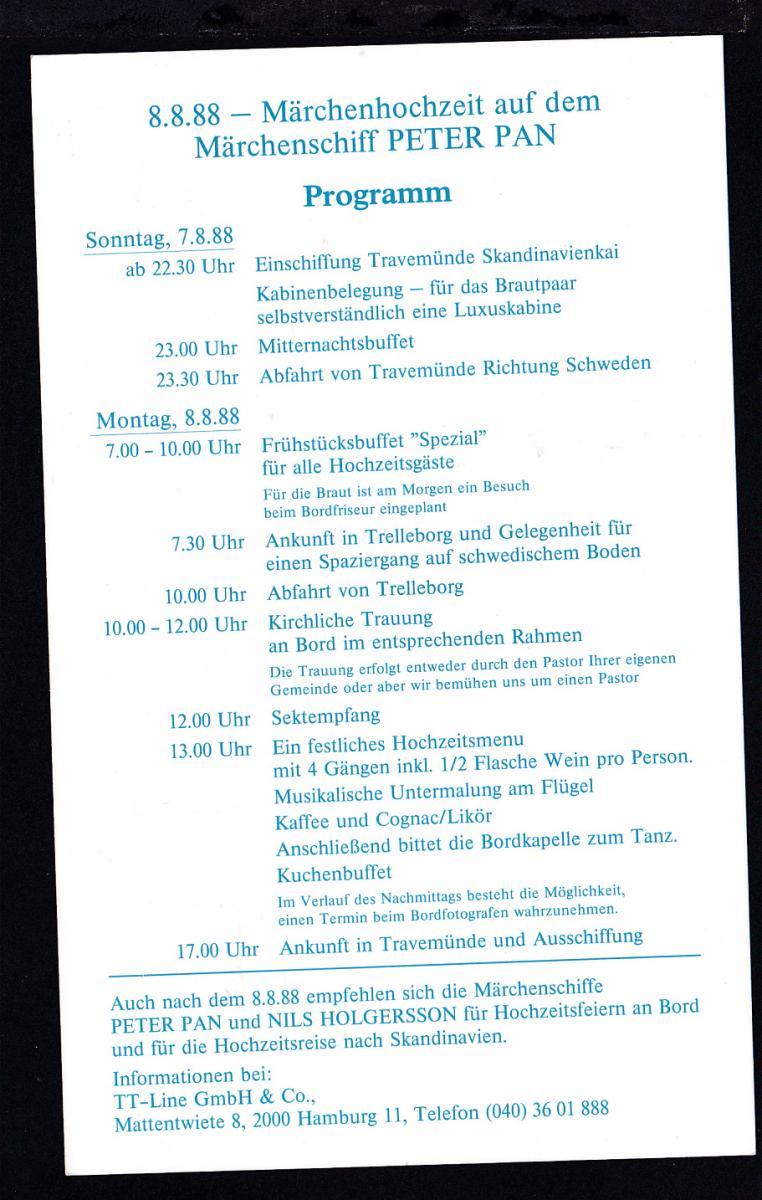 DEUTSCHE SCHIFFSPOST MS PETER PAN TT-LINE TRAVEMÜNDE-TRELLEBORG 8.8.88  1