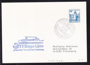 DEUTSCHE SCHIFFSPOST MS PETER PAN TT-SAGA-LINE TRAVEMÜNDE-TRELLEBORG  31.12.85