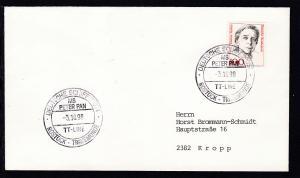 DEUTSCHE SCHIFFSPOST MS PETER PAN TT-LINE ROSTOCK-TRAVEMÜNDE 3.10.90 auf Brief