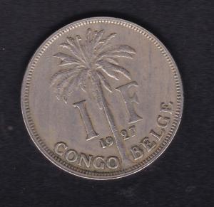 Belgisch-Kongo 1 Franc Palme 1927, SS