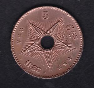 Belgisch-Kongo 5 Centimes 1888, Bankfrisch