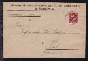 Adler mit Aufdruck 10 Pfg. auf Brief des Amtsgericht in Schleswig ab Schleswig