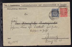 Ziffer 1 M. und 2 M. auf Brief der Landeskulturrenten- und Altersrentenbank