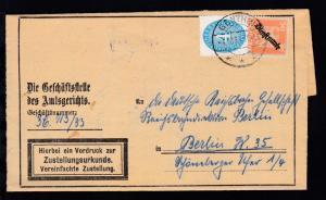 Adler 50 Pfg. und Ziffer 4 Pfg. auf Brief (Zustellungsurkunde) des Amtsgericht