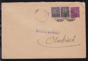 Ziffer 10 M. waager. Paar + Ziffer 50 M.  auf Brief des Amtsgericht Karlsruhe ab